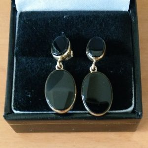 14k Yellow Gold and Onyx Drop Earrings